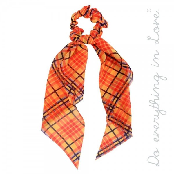 """Do everything in Love brand plaid print hair scarf scrunchie.  - One size - Approximately 11"""" L - 100% Polyester"""