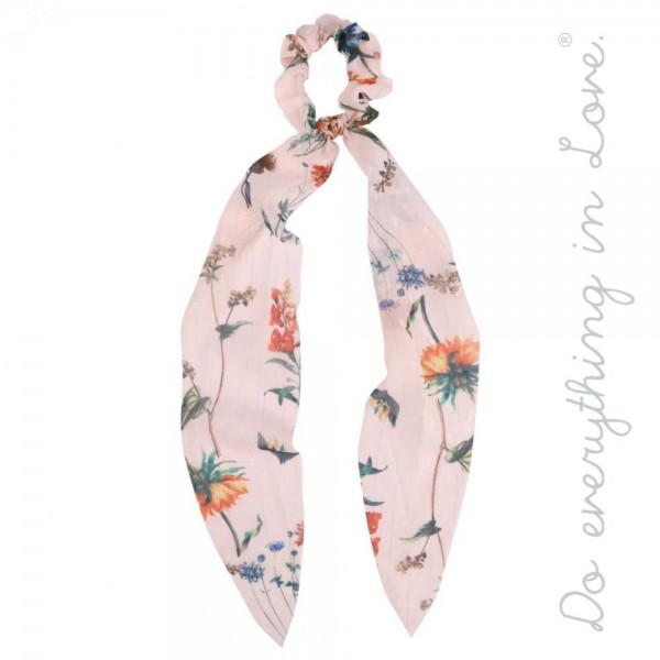"""Do everything in Love brand sheer metallic pin stripe floral print hair scarf scrunchie.  - One size - Approximately 16"""" L - 100% Polyester"""