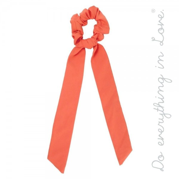 "Do everything in Love brand solid color hair scarf scrunchie.  - One size  - Approximately 11"" L - 100% Polyester"