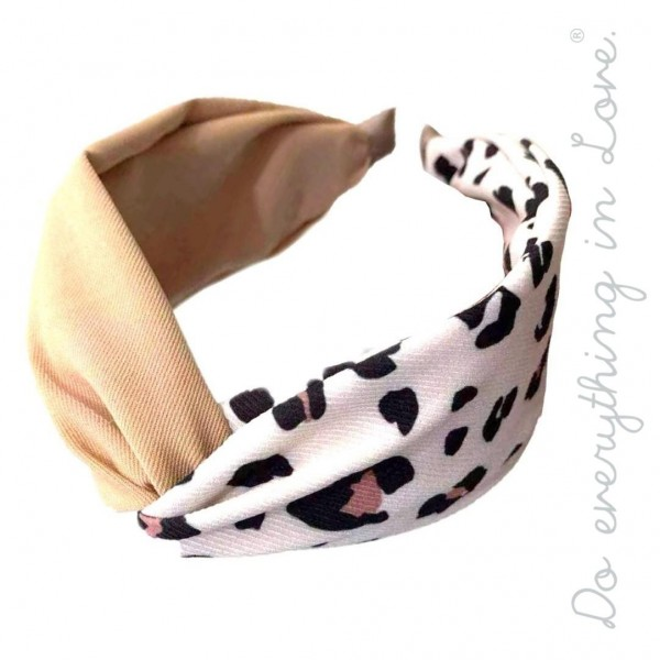 Do everything in Love brand half and half twisted leopard print headband.  - One size - 100% Polyester