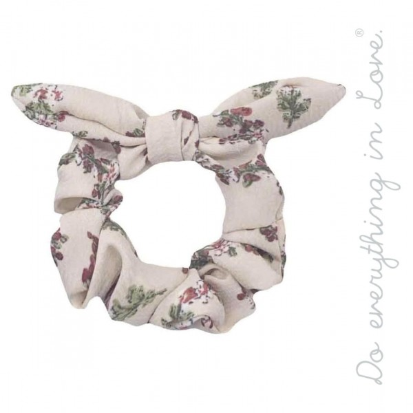 Do everything in Love brand floral bow hair scrunchie.  - One size - 100% Polyester