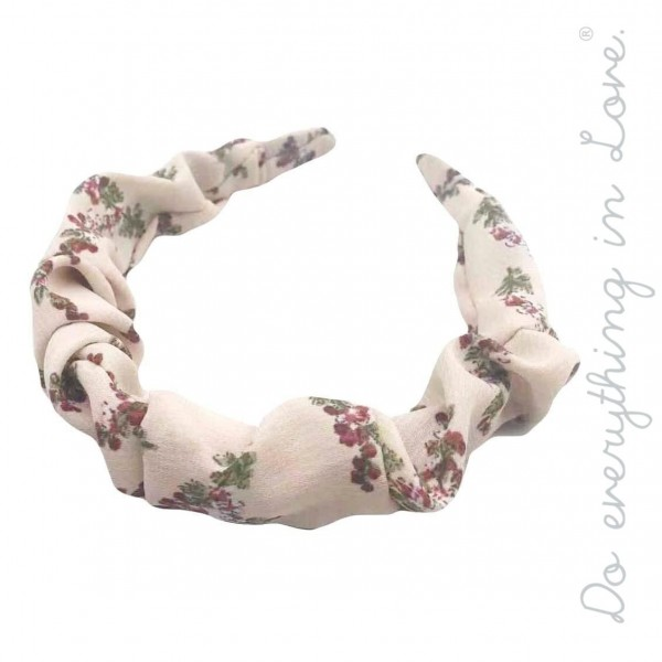 Do everything in Love brand ruched floral print headband.  - One size - 100% Polyester