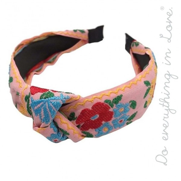 Do everything in Love brand knotted floral embroidered headband.  - One size - 100% Polyester