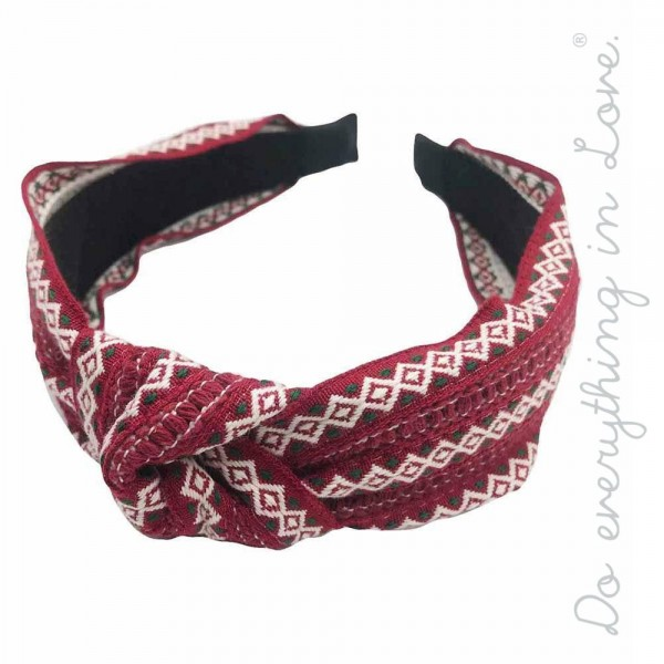 Do everything in Love brand knotted ethnic embroidered headband.  - One size - 100% Polyester