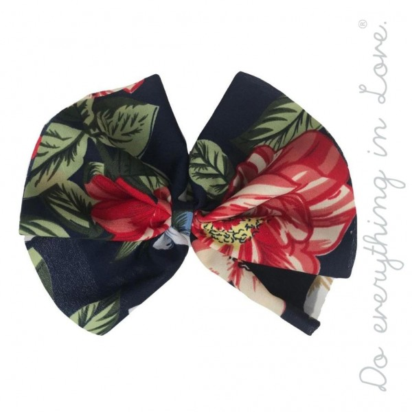 """Do everything in Love brand floral print hair bow barrette.  - One size - Approximately 6"""" W x 4.5"""" T - 100% Polyester"""