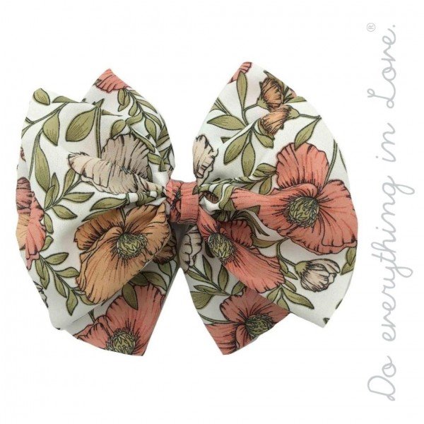 """Do everything in Love brand floral hair bow barrette.  - One size - Approximately 6"""" W x 5"""" L - 100% Polyester"""