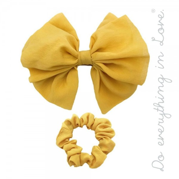 "Do everything in Love brand solid hair barrette and scrunchie set of two.  - 2pcs/pack - 1 Bow Barrette, 1 Scrunchie - Bow Approximately 5"" x 5""  - One size - 100% Polyester"