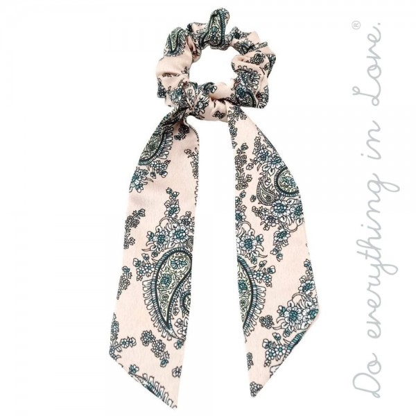 """Do everything in Love brand silky paisley print hair scarf scrunchie.  - One size - Approximately 7"""" L - 100% Polyester"""