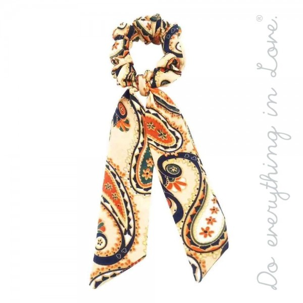 """Do everything in Love brand paisley print hair scarf scrunchie.  - One size - Approximately 7"""" L - 100% Polyester"""