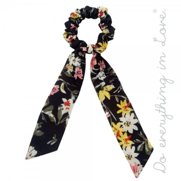 Wholesale do everything Love brand floral hair scarf scrunchie One L Polyester