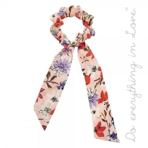 "Do everything in Love brand floral hair scarf scrunchie.  - One size - Approximately 7"" L - 100% Polyester"