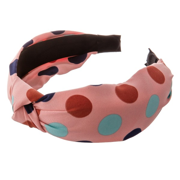 Knotted polka dot headband.  - One size - 100% Polyester