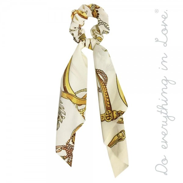 """Do everything in Love brand lightweight designer inspired print hair scarf scrunchie.  - One size - Approximately 12"""" L - 100% Polyester"""