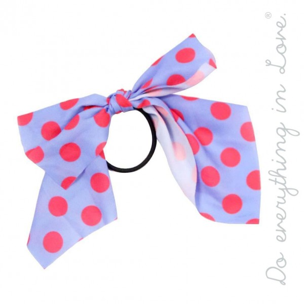 """Do everything in Love brand lightweight polka dot ponytail scarf.  - One size - Approximately 6"""" L - 100% Polyester"""