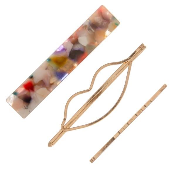"""Marble resin kiss hair pin set.  - 3pcs/set - 2 pins 1 clip - Approximately 2"""" L"""