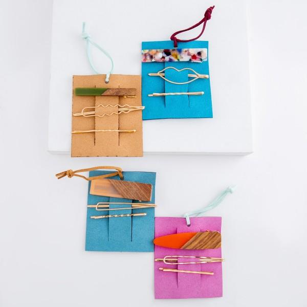 "Peach resin wood hair pin set.  - 3pcs/set - 2 pins 1 clip - Approximately 2.5"" L"
