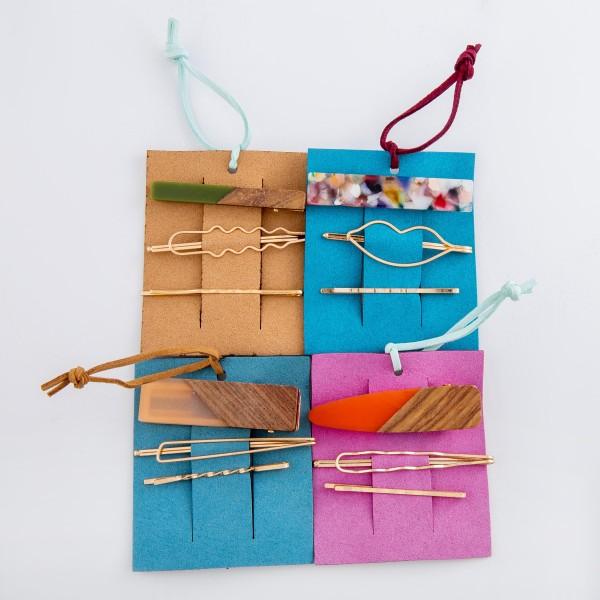 """Coral resin wood hair pin set.  - 3pcs/set - 2 pins 1 clip - Approximately 2.5"""" L"""