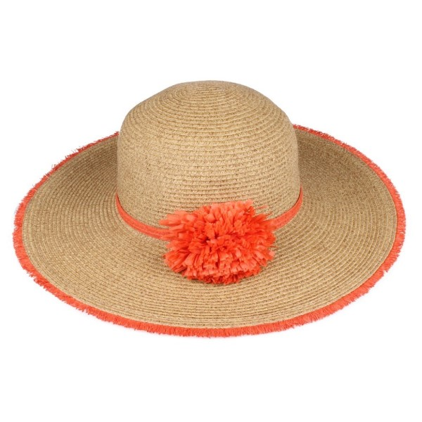 C.C brand ST-706 fringed wide brim hat with single paper flower band. 80% paper straw and 20% polyester. UPF 50+