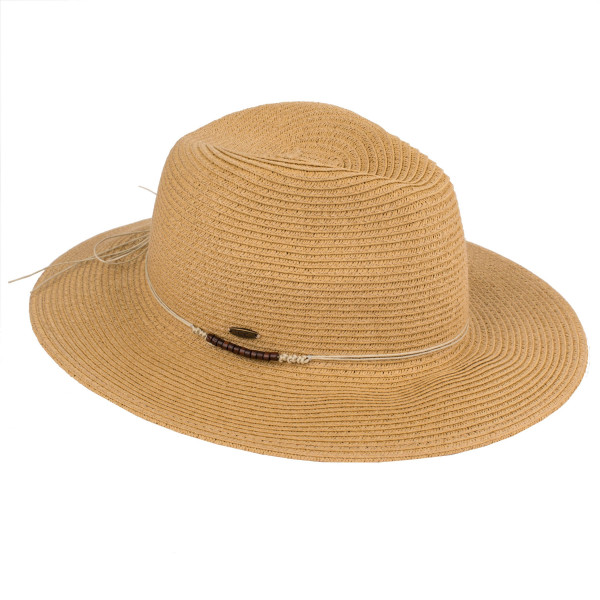 3021d5ca13f Wholesale c C brand ST brim hat faux leather tie band paper straw polyester  SPF