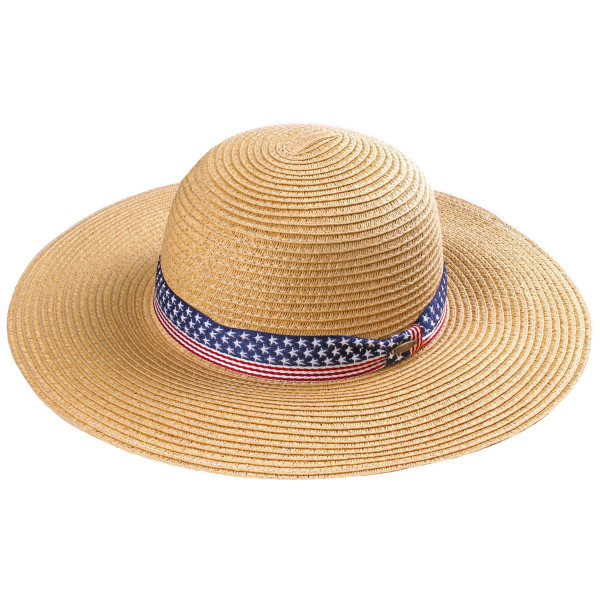C.C brand ST-0704 brim hat with stars and stripes band. 80% paper straw and 20% polyester. UPF 50+