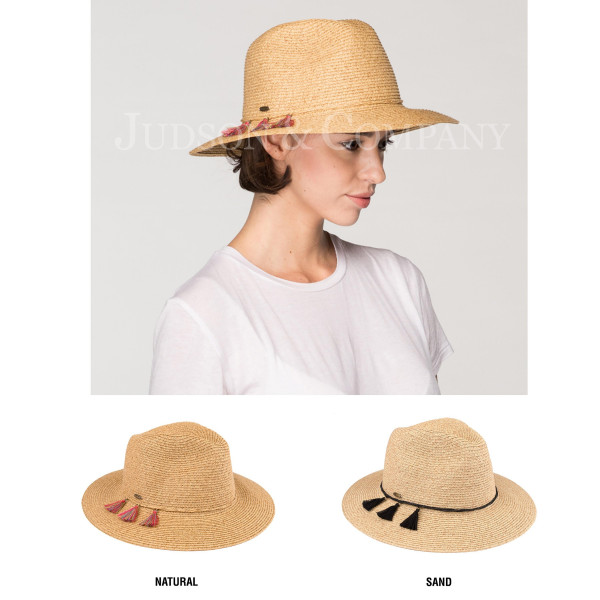 C.C brand ST-502 panama hat with tassel ornaments. 80% paper straw and 20% polyester. UPF 50+