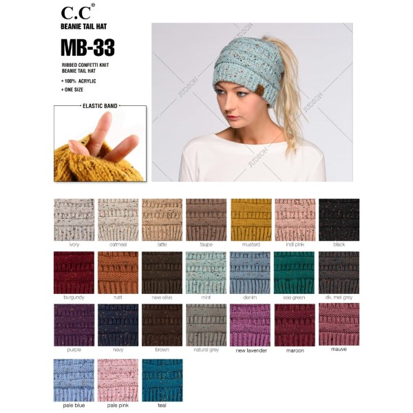 MB-33: Messy-bun, confetti print C.C beanie. 100% acrylic.  Matches: HAT-33, G-33, and SF-33.