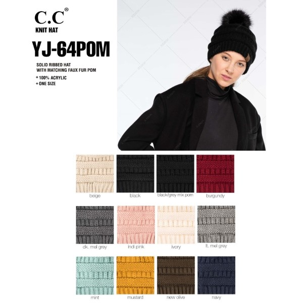 YJ-64POM: Cable knit, original C.C beanie with a self color faux fur pom pom. 100% acrylic.