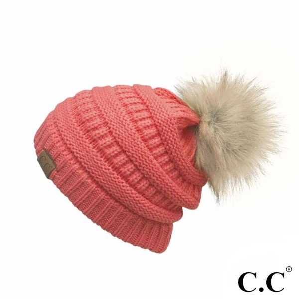 HAT-43: Cable knit, original C.C beanie with a faux fur pom pom. 100% acrylic.