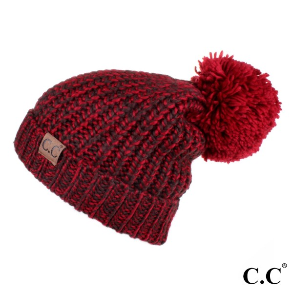 HAT-123A: Chucky knit multi color C.C Beanie with knit pom. 100% acrylic.