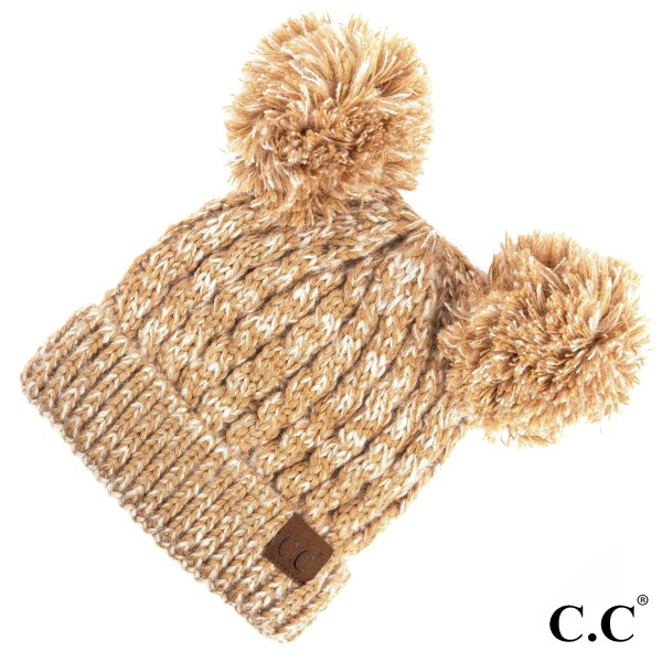 HAT-23: Chunky cable knit two tone fuzzy C.C Beanie with double pom. 100% acrylic.