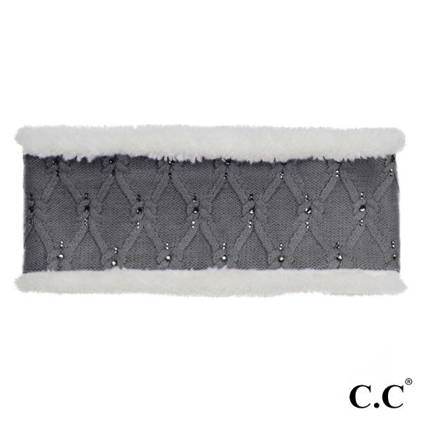 HW-302: C.C head wrap with rhinestone detail. 100% acrylic.