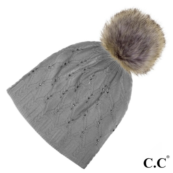 HAT-302P: Black label crystal CC beanie with real raccoon fur pom. 20% angora and 80% acrylic.