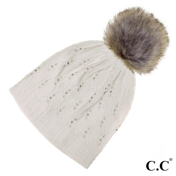 Wholesale hAT P Black label crystal CC beanie real raccoon fur pom angora  acryli 0d3dd7b1a1f
