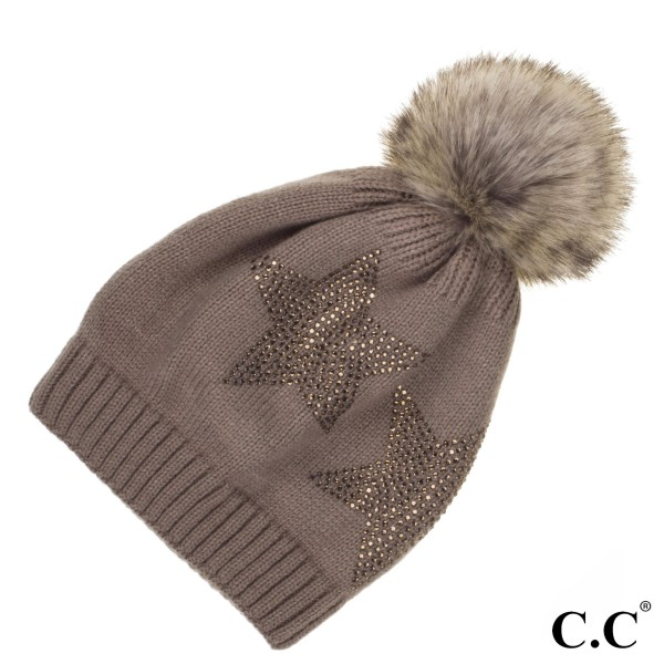 HAT-501: Faux fur pom C.C Beanie with rhinestone star pattern. 100% acrylic.