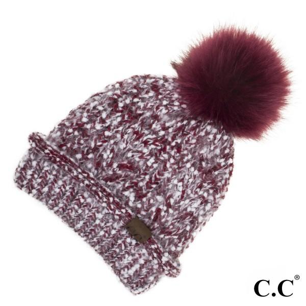 C.C HAT-1825  Eyelash confetti yarn beanie with faux fur pom  - 100% Acrylic - One size fits most - Matches C.C INF-1825