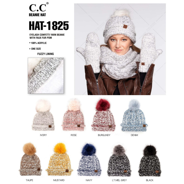 HAT-1825: Eyelash confetti yarn C.C. Beanie with faux fur pom. 100% Acrylic.