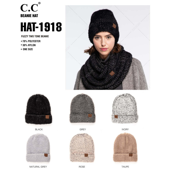 HAT-1918: Fuzzy two tone beanie. 70% polyester and 30% nylon.