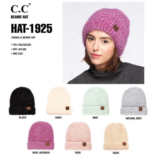 HAT-1925: Chenille C.C Beanie. 70% polyester and 30% nylon.
