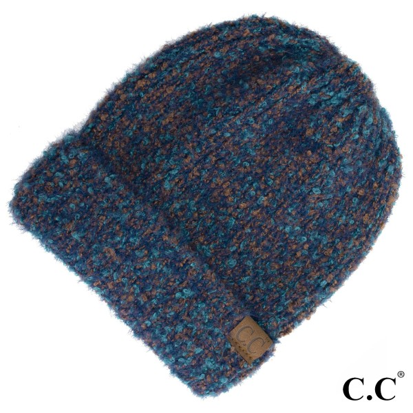 HAT-2035: Boucle yarn C.C Beanie with cuff. 50% polyester and 50% nylon.