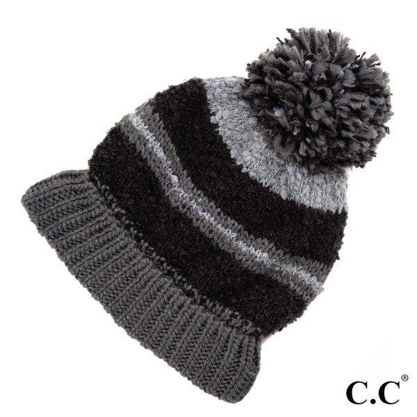 HAT-6245: Striped C.C Beanie hat with pom. 100% acrylic.