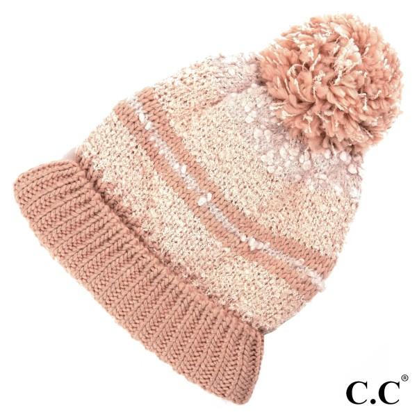HAT-6245: Striped C.C Beanie hat with pom. 100% acrylic.