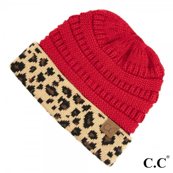 MB-45: Solid color CC Messy Bun beanie with leopard pattern cuff. 100% acrylic.