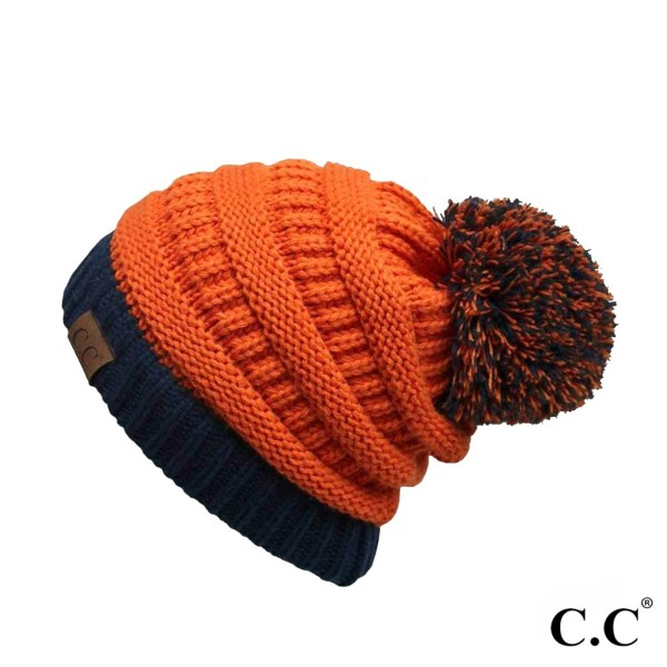 HAT-56: Gameday Two tone solid beanie with pom.