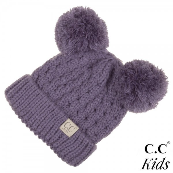acf4f8bcc63 Wholesale kID Chunky cable knit C C Beanie double pom acrylic diameter  Approxima