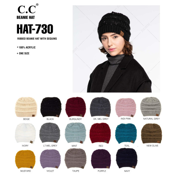 """HAT-730: Cable knit original C.C beanie style with sequin accents. 100% acrylic. Measures 9.5"""" in diameter and 8"""" in length."""