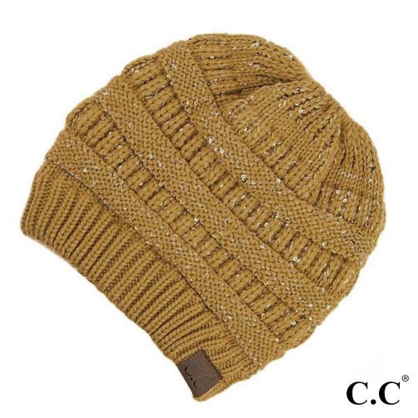 e0d1e3433 C.C MB-730 Cable knit sequin messy bun beanie - 100% Acrylic - One ...