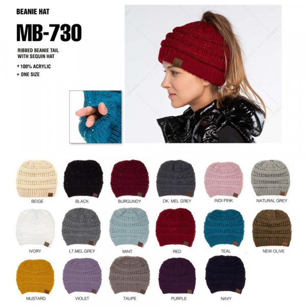 """MB-730: Cable knit messy bun C.C beanie style with sequin accents. 100% acrylic. Measures 9.5"""" in diameter and 8"""" in length."""