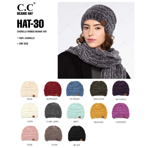 HAT-30- Cable knit chenille C.C Beanie. 100% acrylic.