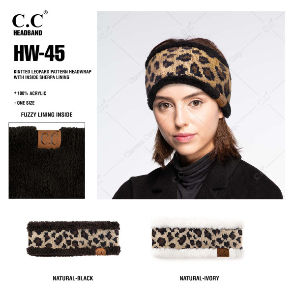 HW-45: C.C head wrap with leopard print detail. 100% acrylic.