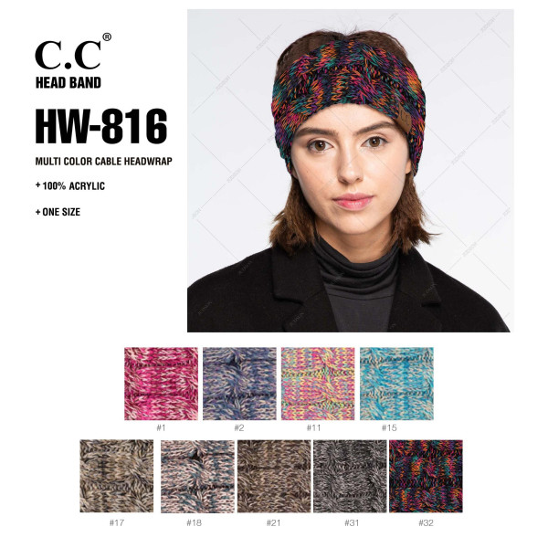 "HW-816: Solid cable knit C.C headwrap with an 18"" circumference and 4"" width. 100% acrylic."